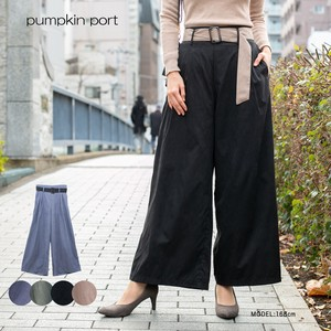 [ 2020NewItem ] Plain Twill Color Scheme Belt Attached High-waisted wide pants