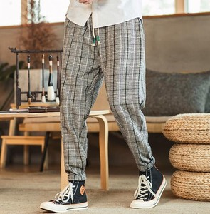 Chino Pants Men's Checkered Pants Thick Leisurely wide pants Casual Gray