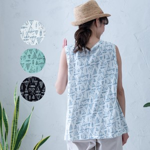 S/S Yacht Repeating Pattern Print Wide Tank Top