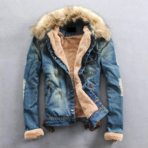 Denim Jacket Men's Slim Bike Fur Attached Blue