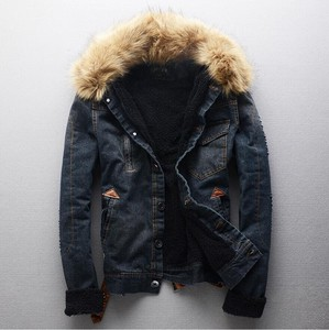 Denim Jacket Men's Slim Bike Fur Attached
