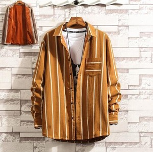 Shirt Men's Shirt Long Sleeve Shirt Stripe Dress Shirt Work Shirt Casual Yellow