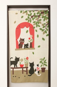 Japanese Noren Curtain Good Friends Cat