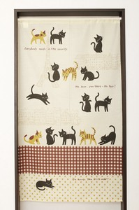Japanese Noren Curtain Cat