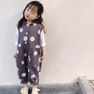 Children's Clothing Overall Gray Dot Dot Overall Casual Korea
