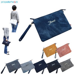 Sweat Denim Synthetic Leather Clutch Bag