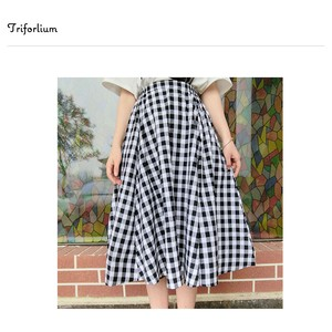 [ 2020NewItem ] 2 Colors Material Checkered Skirt
