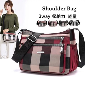 Bag 3WAY Tote Bag Shoulder Bag Nylon Diagonally Light-Weight Checkered