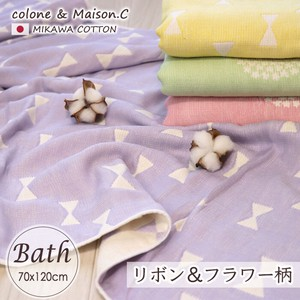 Ribbon Flower Bathing Towel Gauze Towel Long Towel Cotton Made in Japan Large Format Towel