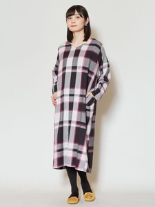 Design Benkei Checkered Pattern Weaving One-piece Dress