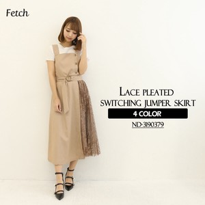 Lace Pleats Switching Zip‐up Jacket Skirt One-piece Dress