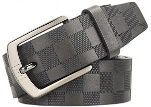15cm Black Checkered Cow Leather Belt Men's Ladies Brand Gift Present Gift