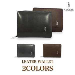 Genuine Leather Long Round Fastener Coin Purse Attached Two Wallet Wallet