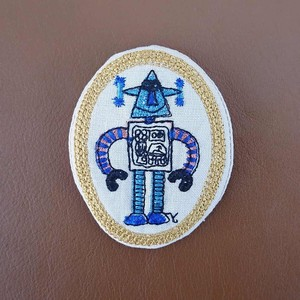 Badge Like Embroidery Brooch Robot