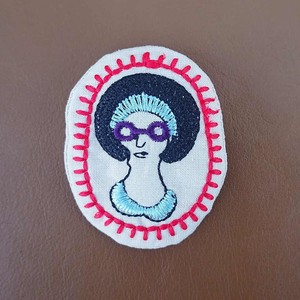 Badge Like Embroidery Brooch Afro Lady