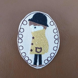 Badge Like Embroidery Brooch Kids Detective
