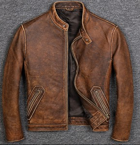 [ 2020NewItem ] High Quality Genuine Leather Cow Leather Fly Jacket for Men Jacket Brown