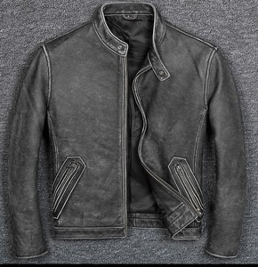 [ 2020NewItem ] High Quality Genuine Leather Cow Leather Fly Jacket for Men Jacket Black