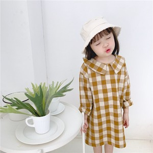 Children's Clothing One-piece Dress Gingham Check Kids Casual Korea