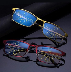 Far-sighted Glass Men Ladies Blue Magnifying Glass Eyeglass Red Gold