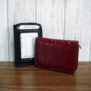 Genuine Leather Wallet Commuter Pass Holder Attached Smallish Wallet Round Fastener