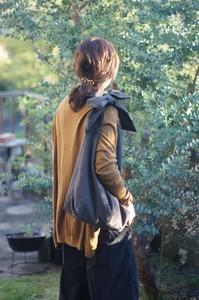 【ハンドメイド】綿麻リボンのバッグ(チャコール)