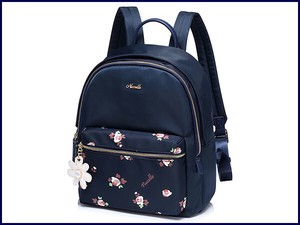 ELLE Flower Decoration Ladies Backpack Light-Weight Nylon