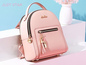 Ladies Backpack Going To School Artificial Leather Pink