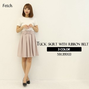 Ribbon Belt Attached Tuck Skirt