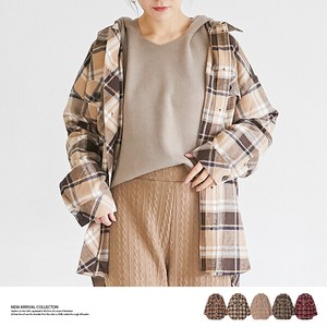 A/W Big Tunic Checkered Shirt Top