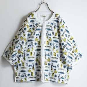 S/S Scandinavia Embroidery Print Deformation Dolman Shirt