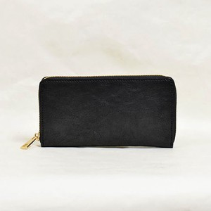 Tochigi Leather Round Fastener Long Wallet Black Cow Leather Men's Ladies Black