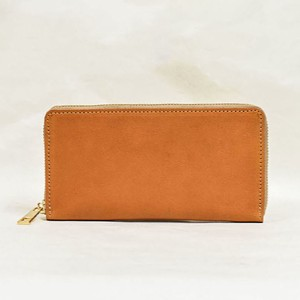 Tochigi Leather Round Fastener Long Wallet Cow Leather Men's Ladies Camel