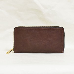 Tochigi Leather Round Fastener Long Wallet Cow Leather Men's Ladies Brown
