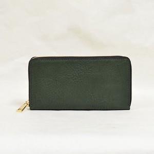 Tochigi Leather Round Fastener Long Wallet Green Cow Leather Men's Ladies Green
