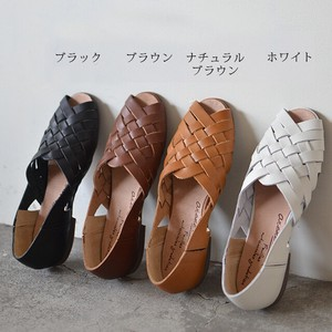 Leather Flat Shoe Mesh Sandal