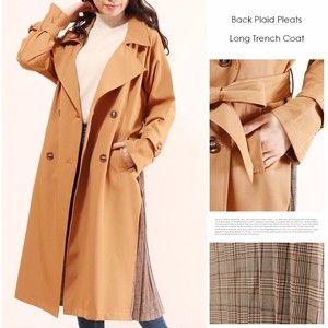 Checkered Bag Checkered Pleats Over Long Trench Coat Bag Long Coat