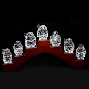 Natural Crystal Seven Deities Of Good Luck Ornament With Stand