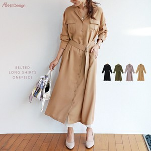 Belt Shirt One-piece Dress