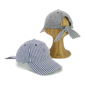 Gingham Check Bag Ribbon Cap Young Hats & Cap