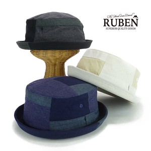 Ruben Patchwork Linen Pork Pie Hat Young Hats & Cap
