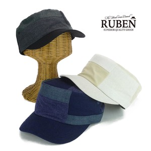 Ruben Patchwork Linen Military Cap Young Hats & Cap