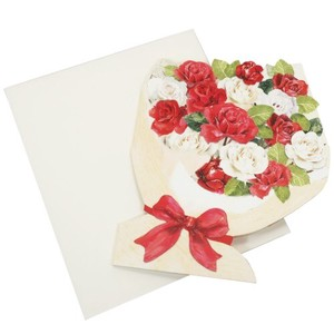 Die Cut Bouquet type COLORED PAPER Envelope Attached Two Message Board