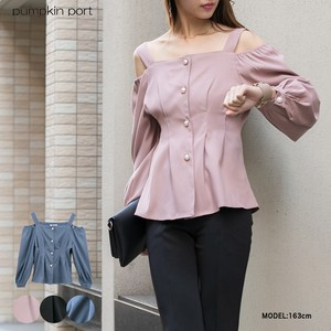 [ 2020NewItem ] Polyester Peach Pearl Button Waist Tuck Off-Shoulder Blouse
