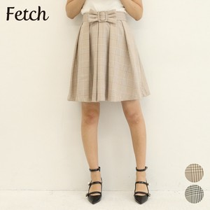 Ribbon Belt Attached Checkered Tuck Skirt