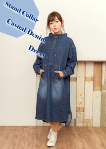 Denim Stand Color One‐piece dress.