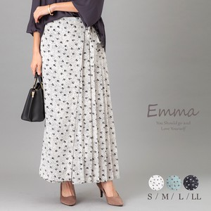 Retro Floral Pattern Wrap wide pants Pleats Pants