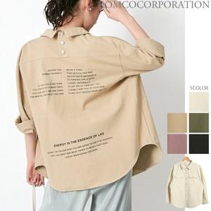 2020新作♪後ろドット釦 バックプリントオーバーサイズCPOシャツ