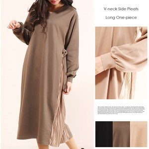 This Season V-neck Pleats One-piece Dress Long Cut And Sewn