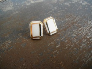 Gold Decoration Pierced Earring Earring Square